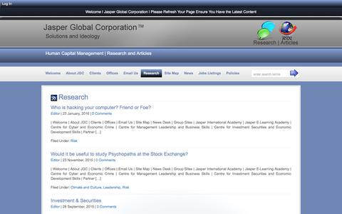 Screenshot of Blog jasperglobal.com - Research :: Jasper Global Corporation - captured April 7, 2016