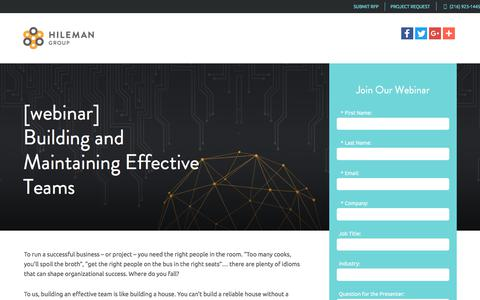 Screenshot of Landing Page hilemangroup.com - [webinar] Building and Maintaining Effective Teams - captured March 5, 2018