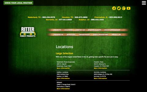Screenshot of Locations Page ritterforest.com - Locations:  Hardwood Timber Mat Rentals & Sales | Ritter Forest Products - captured Oct. 9, 2014