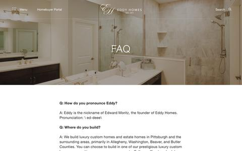 Screenshot of FAQ Page eddyhomes.com - FAQ - Eddy Homes - captured Dec. 14, 2018
