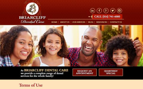 Screenshot of Terms Page briarcliffdentalcare.com - Terms of Use | Briarcliff Dental Care - captured Aug. 3, 2018
