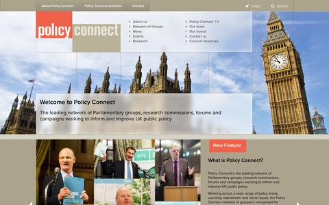 Screenshot of Home Page Privacy Page policyconnect.org.uk - Welcome to Policy Connect | Policy Connect - captured Sept. 30, 2014