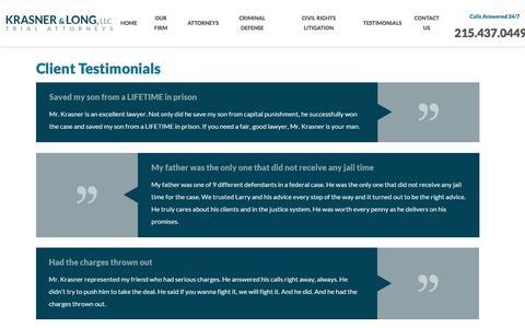 Screenshot of Testimonials Page philadelphiacriminallawyers.com - Testimonials | Defense Attorney in Philadelphia - captured Feb. 12, 2016