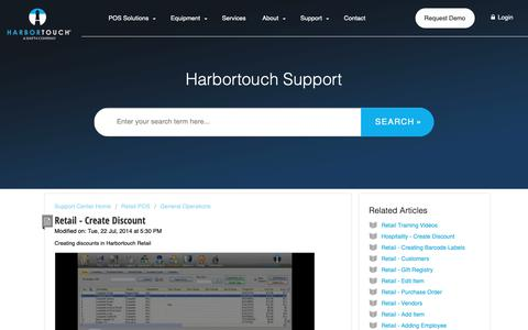Screenshot of Support Page harbortouch.com - Retail - Create Discount : Harbortouch Support Center - captured Oct. 9, 2018