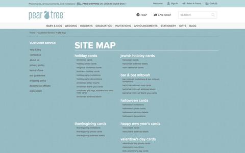 Screenshot of Site Map Page peartreegreetings.com - Site Map | Pear Tree Greetings - captured Sept. 23, 2014