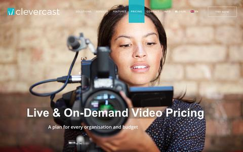 Screenshot of Pricing Page clevercast.com - Live & on-demand video pricing - captured Jan. 26, 2018