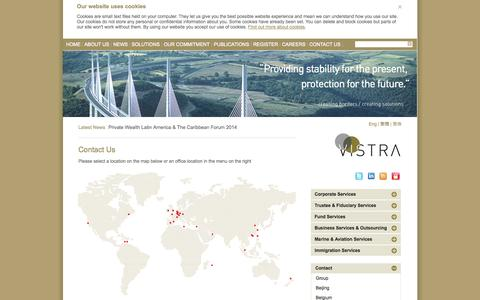 Screenshot of Contact Page Locations Page vistra.com - Vistra - Contact us - captured Oct. 25, 2014