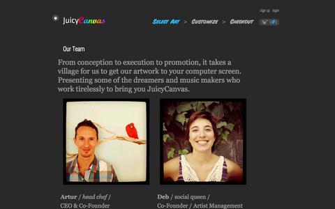 Screenshot of Team Page juicycanvas.com - Our Team » JuicyCanvas - captured Sept. 16, 2014