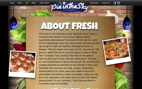 Screenshot of About Page pieintheskypizza.com - PIE IN THE SKY PIZZA - captured Sept. 29, 2014