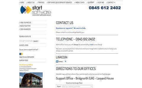 Screenshot of Contact Page start-software.com - Start Software - Software Development Services - Contact - captured Oct. 29, 2014