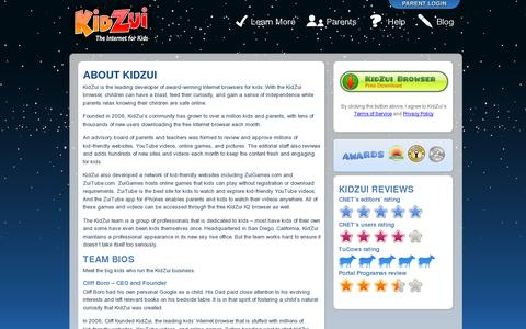 Screenshot of About Page kidzui.com - About KidZui - The Company that Collects Online Games, Videos & Websites just for Kids - captured July 20, 2014