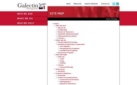 Screenshot of Site Map Page galectintherapeutics.com - Galectin Therapeutics (NASDAQ: GALT) - captured July 19, 2014