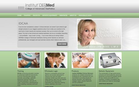 Screenshot of Home Page idermedskincaretraining.com - Welcome to Institut Dermed Skincare Training - captured Oct. 6, 2014