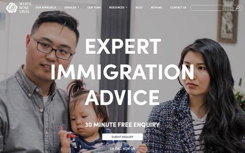 Screenshot of Home Page whiterosevisas.co.uk - White Rose Visas: expert UK immigration advice - captured Nov. 19, 2018