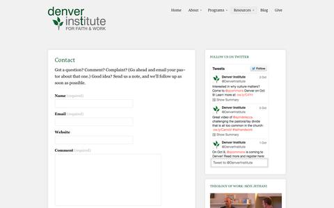 Screenshot of Contact Page denverinstitute.org - Contact | Denver Institute for Faith & Work - captured Oct. 5, 2014