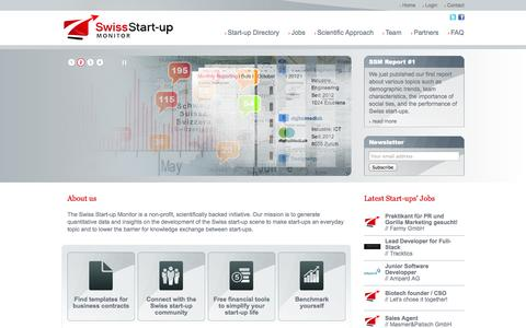 Screenshot of Home Page startupmonitor.ch - Swiss Start-up Monitor - captured Oct. 6, 2014