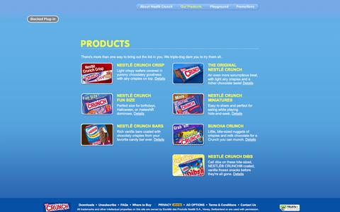 Screenshot of Products Page nestlecrunch.com - Nestlé Crunch Products - captured Jan. 21, 2016