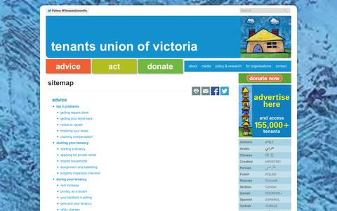 Screenshot of Site Map Page tuv.org.au - sitemap - Tenants Union of Victoria - captured Oct. 7, 2014