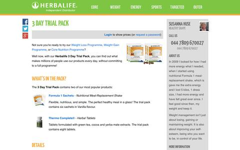 Screenshot of Trial Page healthyshape.co.uk - 3 Day Trial Pack - Susanna Huse's Herbalife Shop - captured Sept. 29, 2014