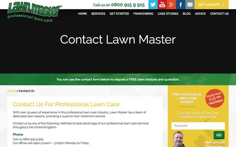 Screenshot of Contact Page lawnmaster.co.uk - Contact Lawn Master - captured July 12, 2016