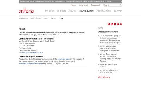 Screenshot of Press Page ahrend.nl - Press - Ahrend - captured Oct. 4, 2014