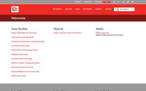 Screenshot of Case Studies Page eroad.co.nz - Resources | EROAD - captured Oct. 15, 2016