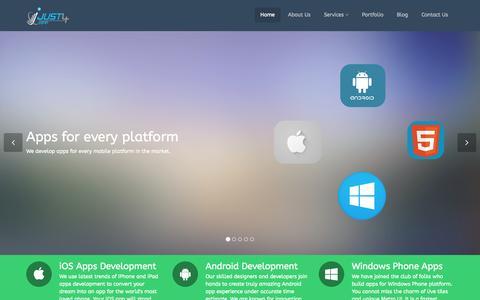 Screenshot of Home Page just4app.com - iPhone app developer in Delhi | iPad app developer in Delhi - Just4App - captured Sept. 30, 2014
