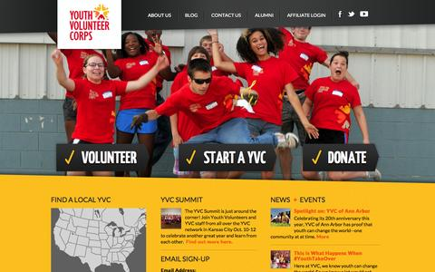 Screenshot of Home Page yvc.org - Youth Volunteer Corps - captured Oct. 6, 2014