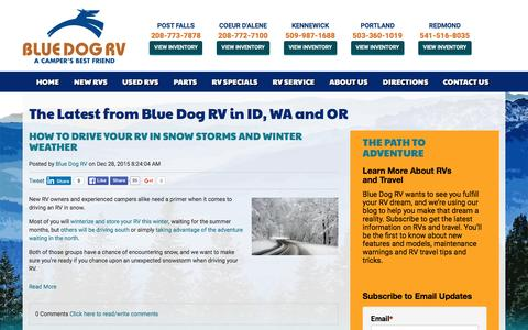 Screenshot of Blog bluedogrv.com - The Latest from Blue Dog RV in ID, WA and OR - captured Jan. 6, 2016
