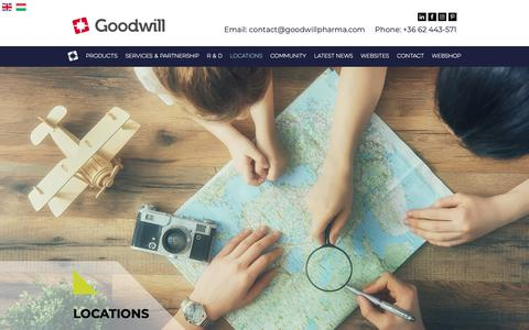 Screenshot of Locations Page goodwillpharma.com - Locations - captured Sept. 29, 2018