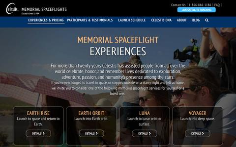 Screenshot of Services Page celestis.com - Space Funeral Ashes Burial Services | Celestis Memorial Spaceflights - captured Jan. 20, 2017