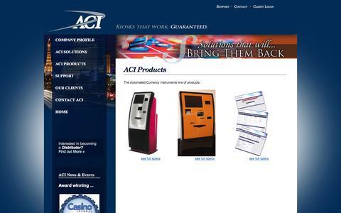 Screenshot of Products Page aci-inc.biz - Welcome to Automated Currency Instruments - captured Feb. 6, 2016