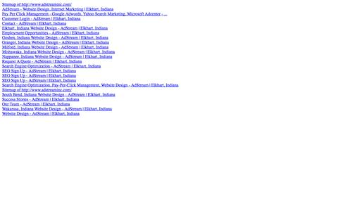 Screenshot of Site Map Page adstreaminc.com - Sitemap of http://www.adstreaminc.com/ - captured Oct. 27, 2014