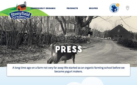 Screenshot of Press Page stonyfield.com - Press - Stonyfield - captured Jan. 16, 2018