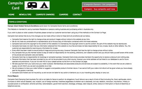 Screenshot of Terms Page campsitecard.com - Terms & Conditions - Campsite Card Campsite Card - captured Nov. 1, 2014