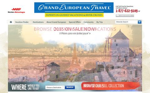 Screenshot of Home Page getours.com - Experts in Guided Vacations to Europe | Grand European Travel - captured Oct. 3, 2014