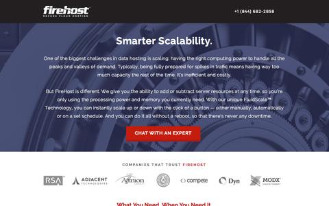 Screenshot of Landing Page firehost.com - Smarter Scalability | FireHost - captured Dec. 10, 2015