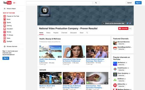 Screenshot of YouTube Page youtube.com - National Video Production Company - Proven Results!  - YouTube - captured Oct. 23, 2014