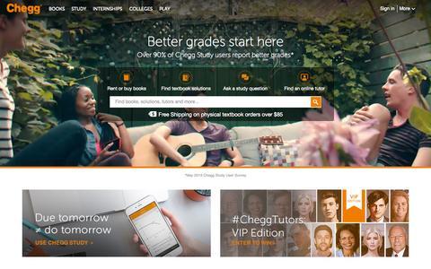 Screenshot of Home Page chegg.com - Chegg - Get 24/7 Homework Help and Online Tutoring | Rent Books - captured Oct. 7, 2015