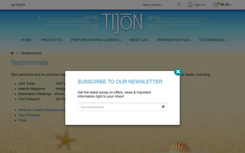 Screenshot of Testimonials Page tijon.com - Testimonials - Tijon - captured Oct. 20, 2018