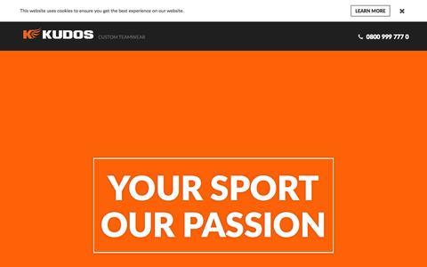 Screenshot of Home Page kudos-sports.com captured Sept. 22, 2015