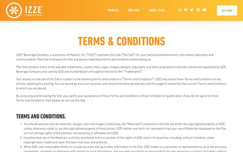 Screenshot of Terms Page izze.com - Terms & Conditions               – IZZE - captured Sept. 23, 2018