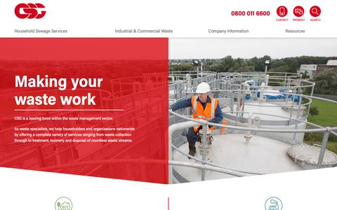 Screenshot of Home Page csg.co.uk - CSG | Sewage, Oil, Hazardous & Drainage Waste Management Specialists - captured Sept. 28, 2018