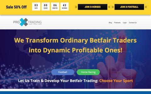 Screenshot of Home Page proxtrading.com - Pro X Trading: Learn Betfair Trading Strategies & Techniques - captured Aug. 28, 2017