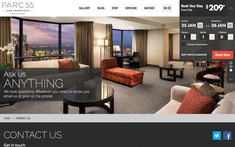 Screenshot of Contact Page parc55hotel.com - Contact Parc 55 San Francisco - captured Jan. 25, 2016
