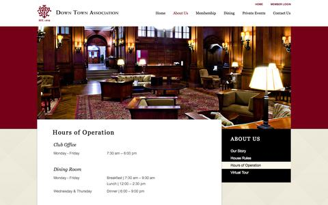 Screenshot of Hours Page thedta.com - Hours of Operation - Down Town Association - captured Oct. 5, 2014