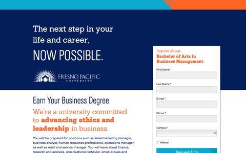 Screenshot of Landing Page fresno.edu - Bachelor of Arts in Business Management - captured Oct. 13, 2016