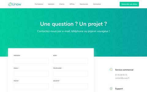 Screenshot of Contact Page unow.fr - Unow: contactez-nous sans plus attendre! - By Unow - captured Sept. 21, 2018