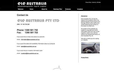Screenshot of Privacy Page Contact Page ele-australia.com.au - ELE Australia, Contact Us - captured Oct. 22, 2014