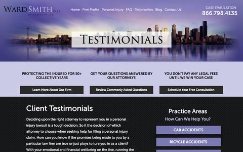 Screenshot of Testimonials Page wardsmithlaw.com - Testimonials | Seattle Personal Injury Attorney - captured Feb. 13, 2016